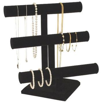 KC Store Fixtures 49130 Jewelry T-Bar Display for Necklace and Bracelets, 3-Tier, Black Velvet, 13 Inches High