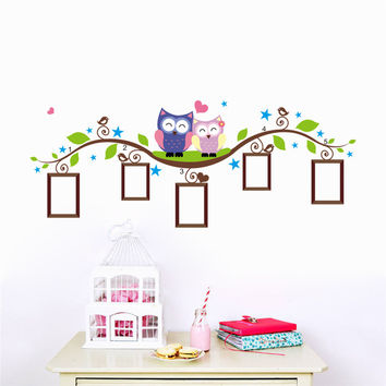 Family owls Tree photo frame wall stickers for kids rooms home decoration bedrrom wall decals living room cartoon mural art