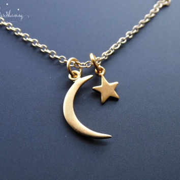 24K Gold Charm Necklace Gold Crescent Moon Star Necklace Gift Ideas for Her Moon and Star Necklace