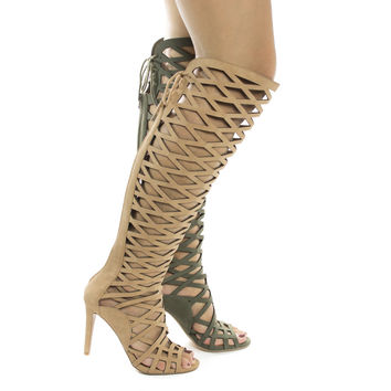 Witness Khaki By Speed Limit 98, High Heel Knee High Laser Chop out Cage Boot / Sandal w Laced Back