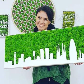 Custom city skyline,handmade product, moss design,living painting,home deco, cafe deco,interior design, laser cut, no care plants, wood