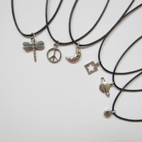 Charm Choker w/ Black Cord. Wishbone, Planet, Peace Sign, Dragon Fly, Star (Read Description)