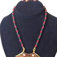 Jewelry Set Gold Red Meenakari Pendant Red Green Beads Indian Thewa Jewellry