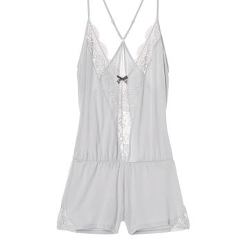 Supersoft Crochet-trim Sleep Romper - Body by Victoria - Victoria's Secret