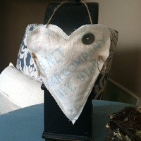 Sugar sack heart hanging basket lavender/herb cone