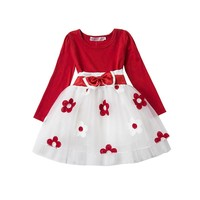 Winter Baby Girl New Party Dresses Long Sleeve Flowers Princess Dress