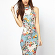 Floral Halter Sleeveless Midi Bodycon Cheongsam Dress