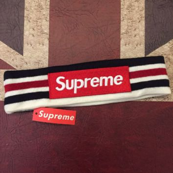 Supreme new fashion hair band sports letter embroidery stripe headband with a forehead White