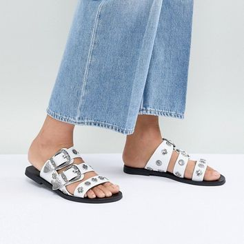 Sol Sana Eastwood White Slides at asos.com