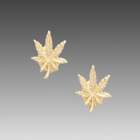 Bing Bang Mary Jane Studs in Yellow Gold