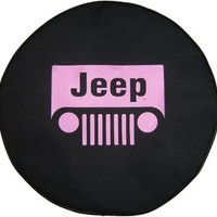 "SpareCover BR-j-wrangler-30-pink Brawny Series Black Denim 30"" Tire Cover with Pink Jeep Wrangler Design"