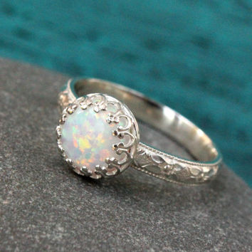 Opal ring - sterling silver - vintage style - white lab opal - promise ring - princess ring - crown gallery setting - handmade - floral band