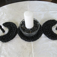 Sparkling Black Triple Moon Table Runner - Wiccan Altar Decor - Pagan Centerpiece - Imbolc Decor - Triple Moon Trivet - Pagan Decor