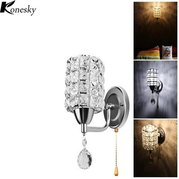 Konesky Modern Style Wall Light Cylinder Crystal Holder with Pendant and Pull Switch AC 85-250V E14 Socket Wall Lamp