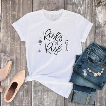 Roses and Rose Bachelor Show Shirts Tees Roses Wine Mondays Black White Plus Size