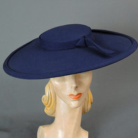 50s Dark Blue Cartwheel Hat, 15 inches wide, Fits any size, Wide Brim, Shallow Crown Saucer Hat, 1950s Vintage hat