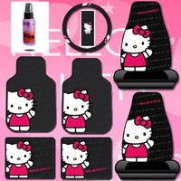 New Design 8 Pieces Hello Kitty Car Seat Cover with 4 Rubber Mats, Steering Wheel Cover and Purple Slice Set