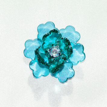 Flower Lotus Crystal, Shredded Edge, 1-3/4-inch, 6-pack, Turquoise