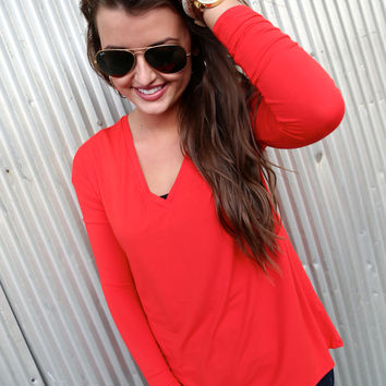 Bright Red V-Neck Piko