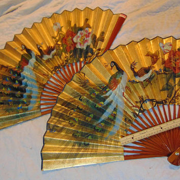 Set of 2 Large Asian Chinese Hand Fans Dual Peacocks Home Wall Décor 36 inches by 20 inches