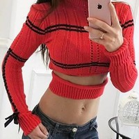 Red Striped Cut Out Crop Round Neck Casual Pullover Sweater