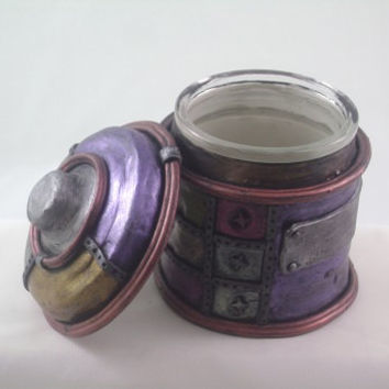 Steampunk Industial Jar, metallic jewel tone polymer clay sculpted over glass jar