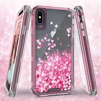 Apple iPhone XS Max Case,Hard Clear Glitter Sparkle Flowing Liquid Heavy Duty Shockproof Three Layer Protective Bling Girls Women Cases for Apple iPhone XS Max - Pink