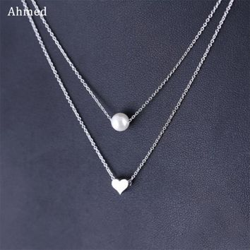 Ahmed Charm Love & Imitation Pearl Pendant Double Necklace Women Fashion Statement Necklace Collar Bijoux Collier Femme Jewelry