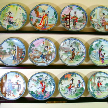 Complete Set Chinese Beauties of the Red Mansion Collector Plates & Designated Display Shelf Bradford Exchange Porcelain Plates Series of 12