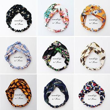 Fresh Fashion Colorful Turban Headbands Women Spring Summer Chiffon Headband Head Wrap Wide Lattice Hairband Hair Accessories