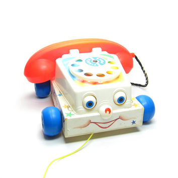 Chatter Telephone Toy Vintage Fisher Price Toddler Pull Along Rotary Phone from 1985