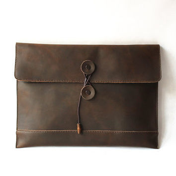 Genuine Cow Leather Briefcase /Men's leather Clutch/ leather bag/ satchel/Messenger bag / iPad sleeve /