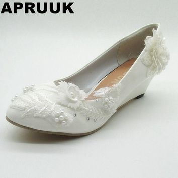 Wedges heels wedding shoes woman female woman's white lace flowers bridal party shoes HANDMADE in STOCK  ladies party shoes