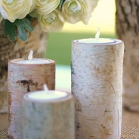 Natural Eco Friendly Birch Bark Log Votive Tea by braggingbags