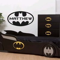 Batman Logo with Custom Name Wall Decal Sticker