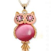 Red Owl Design Pendant Opal Necklace