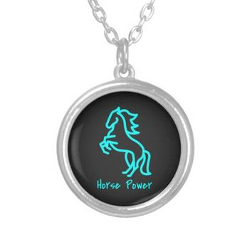 Horse Power in Blue Silver Plated Necklace