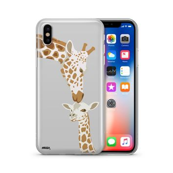 Giraffe Love - Clear TPU Phone Case Cover Phone