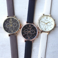 Bella Leather Strap Watch
