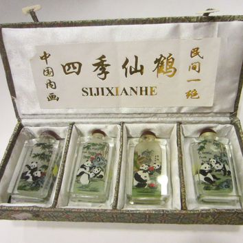 Interior Painted Snuff Bottles Glass Collection With Panda Bears Nested In Box