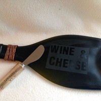 Wine and Cheese Slumped Wine Bottle cheese tray with cork cheese knife