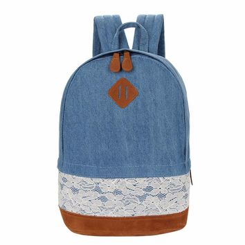 New Fashion Lace Canvas Women Backpack Large Capacity Ladies Travel Satchel Rucksack High Quality Female Shoulder Bag Dark Blue