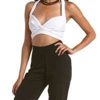 White Wrapped Halter Bra Crop Top by Charlotte Russe