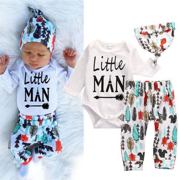 a3c91b4a7eb0 Newborn Baby Boys Girls Clothes Set Tops Romper Pants Leggings Hat Clothing  Feather Autumn Outfits 3PCS