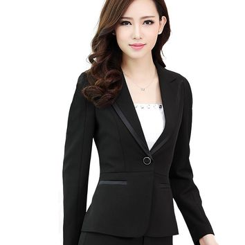 Two Pieces pant suits Slim work wear women trouser jacket OL formal blazer set plus size 6XL OL office business suit female