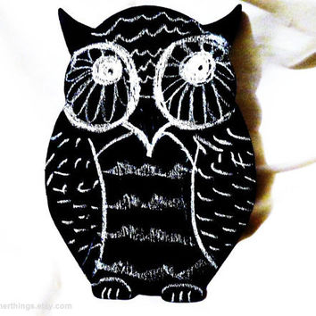 owl shaped chalkboard - owl blackboard reversible chalkboard - wooden chalkboard cutout owl decor kids chalkboard kids decor