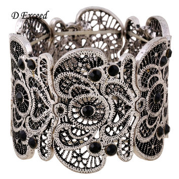 New Arrival Women Vintage Metal Lace Textured Bracelet Best Valentines Gift Etched Filigree Crystal Stretch Bangle