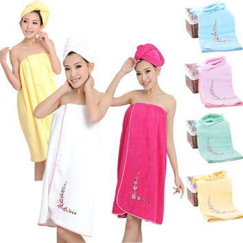 New 2016 Bath Towel Set - 1PC Women Bathrobe + 1PC Hair Cap 100% Cotton Plain Spa Beach Towel Dressing Gown Turban bathroom set