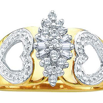 Round Bagguette Diamond Ladies Cluster Ring in 14k Gold 0.15 ctw