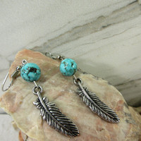 Feather Earrings with turquoise howlite beads, Southwestern Style, Silver Feather Charms, Rustic turquoise beads